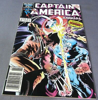 CAPTAIN AMERICA Annual #8 (Wolverine cover & appearance) VF- Marvel Comics 1986
