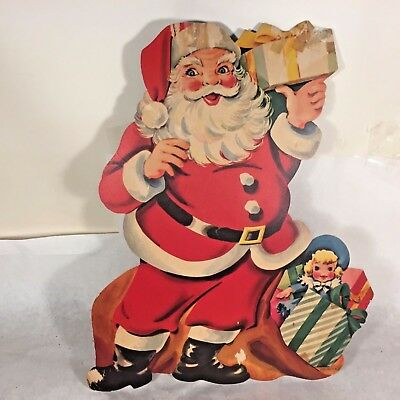 Vtg 40s-50`s Christmas Paper Cardboard Diecut Decoration Santa w Gifts Toys USA