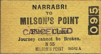 Railway ticket a trip from Narrabri to Milson's Point by the old NSWGR