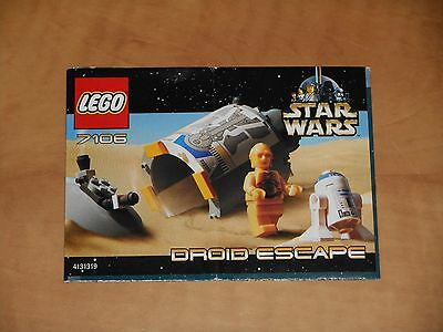LEGO Star Wars Droid Escape Pod 2001 Instructions Only 7106 NM Vintage