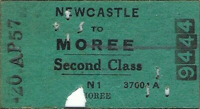 Railway ticket a trip from Newcastle to Moree by the old NSWGR in 1957