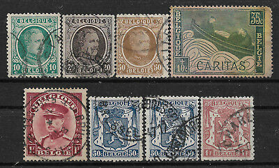 Pre-1945 BELGIUM SET OF 8 USED STAMPS (Michel # 173,175b,180,231,305,422,735)