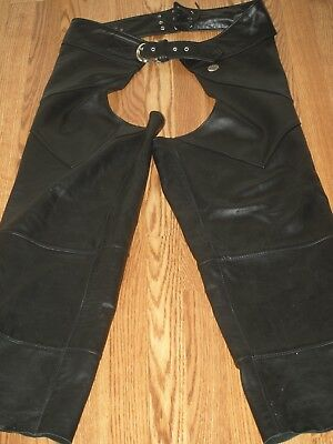 mens harley davidson leather chaps xl EUC made in the USA