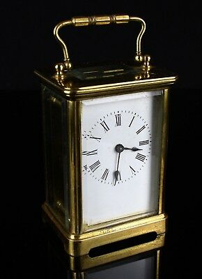 R & CO, PARIS- C19th FRENCH BRASS/GLASS ENAMEL DIAL TRAVEL CARRIAGE CLOCK & CASE