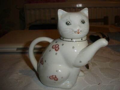 White China Pussy Cat with Raised Paw Spout Decorative Ornamental Novelty TeaPot