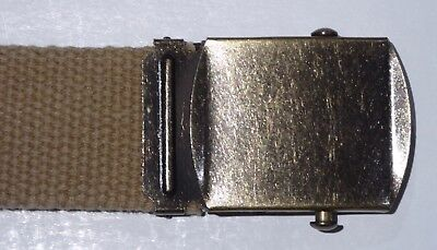 US Army officer trouser belt WW2 - khaki canvas belt with burnished metal buckle
