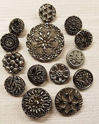 14 Vintage Black Glass Buttons- Silver   Luster