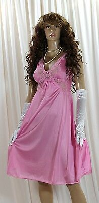 Vintage Olga Body Silk Style #91097 Pink Lace Nylon Lingerie Nightgown Size- S