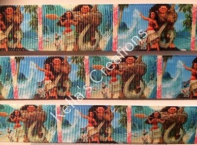"Moana Characters Grosgrain Ribbon 1"" sold by 2 M- Craft -Hair- Cake -Lanyard"