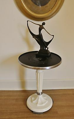 Antique Art Deco Bakelite & Chrome Side *Occasional *Lamp *Display Table / Stand