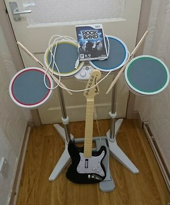 ROCKBAND NINTENDO Wii WIRED WHITE DRUM KIT + GUITAR + ROCK BAND GAME