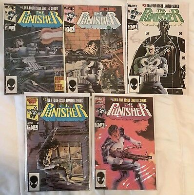 The Punisher #1 2 3 4 5 (Jan 1986, Marvel) Complete set