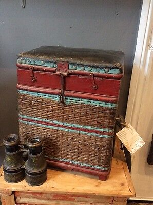 Nice Early 20th Century Edwardian Fishing Basket Creel Stool Original Wicker