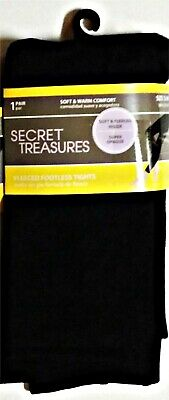 d5f7af04b250a Secret Treasures Footless Tights Super Opaque Black Fleeced Up to 150 lbs  S/M