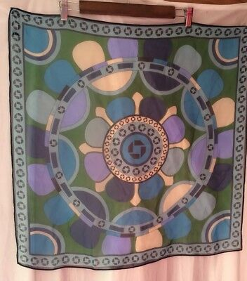 Lands End Chase Bank Uniform Womans Silk square Scarf Blue Green