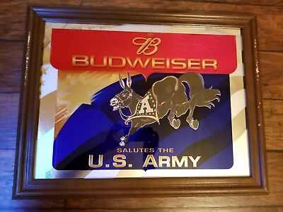 Budweiser Salutes The U.S. Army 2D Mule Flag Military Mirrored Frame Rare Find