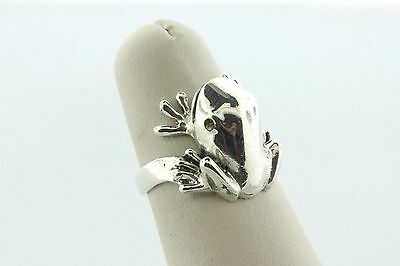 Vintage Mexico Sterling Silver 925 Perched Leaping Toad Frog Ring - Size 6.5