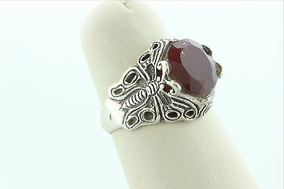 Vintag Sterling Silver 925 Butterfly Ring With Round Red Carnelian Stone - 6