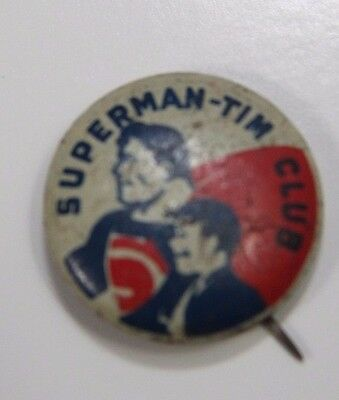 1940's Vintage Superman - Tim Club Button  Pin - Not A Reproduction