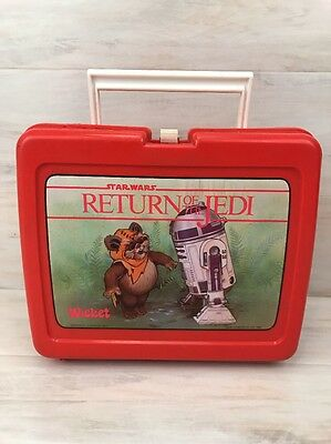 Star Wars Return Of The Jedi Vintage Red Plastic Lunch Box Wicket R2D2