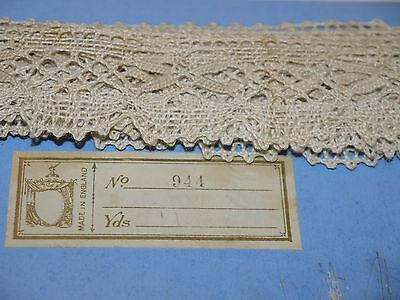 6 Yards Antique Needle Lace made in England NOS Never Used Trim Edge Craft Linen