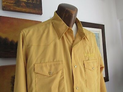 Wrangler Authentic Men's Western Shirt Large Gold Silky Smooth Pearl Snaps Vtg