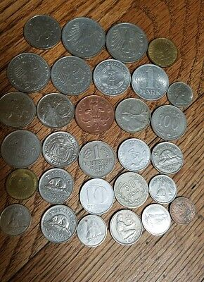 vintage lot of 30 various types  FOREIGN COINS currency