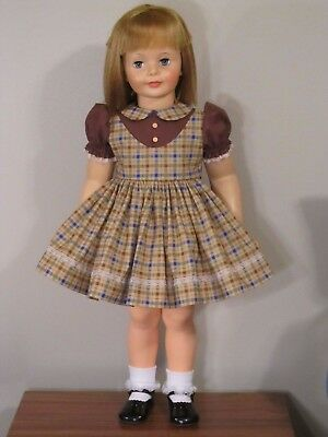 "Cute Brown Check Jumper Style Dress For 35"" Patti Playpal Doll Clothes"