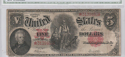 Circulated 1907 $5 United States Star Note--Fr. 91*, Woodchopper, Legal Tender