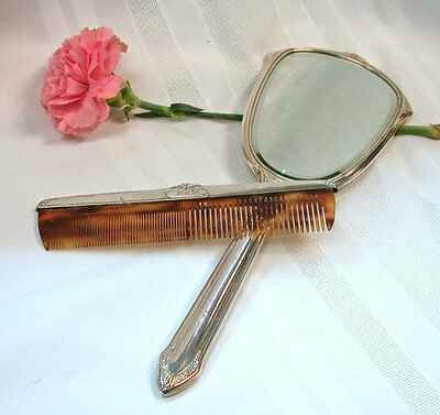 "Vintage Sterling Silver Dresser Set Mirror and Comb set - With initials ""PML"""