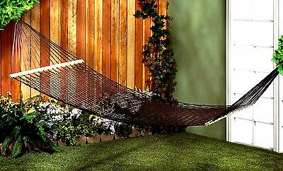 ESPRESSO TWO (2) PERSON HAMMOCK ** Cotton~Rope~Wood~Metal * Max 440 lbs ** NIB