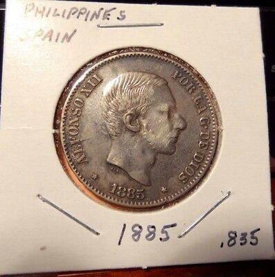 1885 Philippines 50 Centimos Silver Coin .835