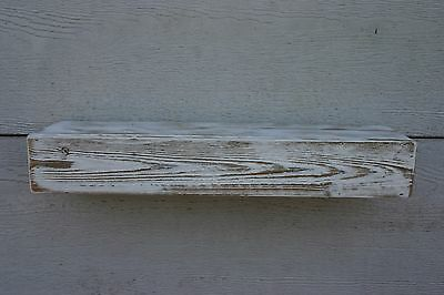"24"" Floating Fireplace Mantle Shelf Reclaimed Wood Rustic White Distressed"