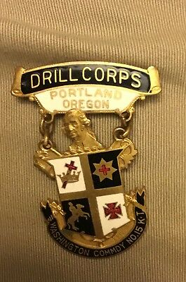 Old  Knights Templar KT Portland Oregon Drill Corps Medal Washington Commdy No15