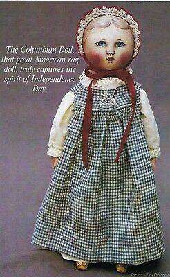 "26""vintage Cloth/oil Painted Miss Columbia Rag Doll+22""alabama Face Mask Pattern"