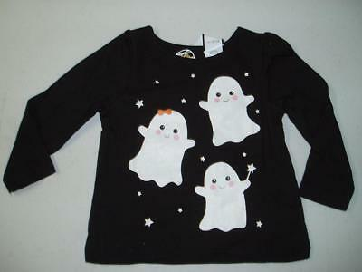 Girls Glow in Dark Halloween Long-Sleeved Black T-Shirt Ghost