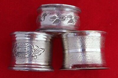 Collection Of 3 Antique Silver Plate Napkin Rings