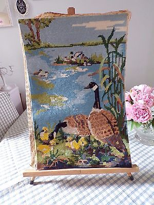 """Anchor    Completed   Geese/pond  Completed  Tapestry 13""""x20"""