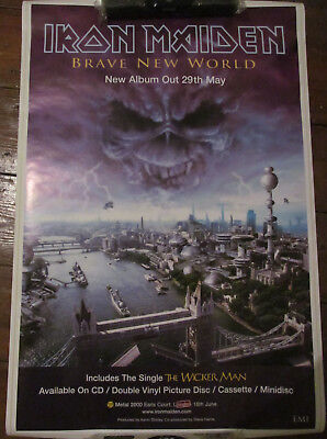 IRON MAIDEN 'BRAVE NEW WORLD' PROMO POSTER from 2000