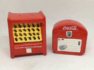 1997 Coca Cola Vending Machine Ceramic Salt & Pepper Shakers