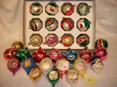 B 30 pc Lot Vintage Mercury Glass Christmas Tree Ornaments Ball Teardrop Indent