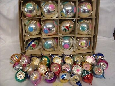 C 36 pc Lot Vintage Mercury Glass Christmas Tree Ornaments Ball Teardrop Indent