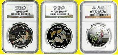 2012 Nose Art Yellow Rose,memphis Bell,brief Time 3 Oz Silver Set Ngc Pf 70 Uc