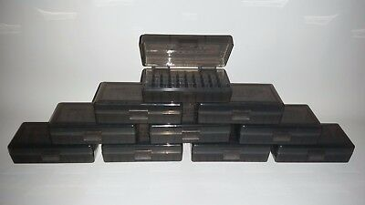 BERRY'S PLASTIC AMMO BOXES (10) SMOKE 50 Round 9MM / 380 - FREE SHIPPING