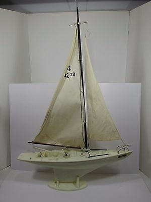 Vtg Eldon Sail Boat Large Display Plastic Toy W/Stand 2 ft Long 34 inches Tall N