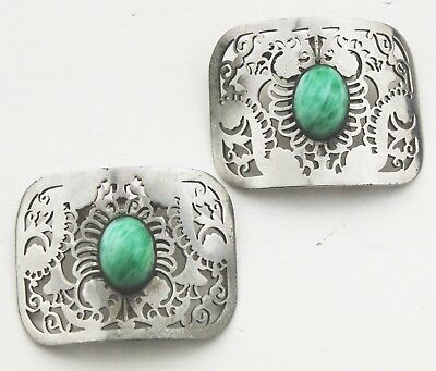 Vintage Shoe Clips Pair Dress 50s Accessories Gift Ladies Womens Green Steel