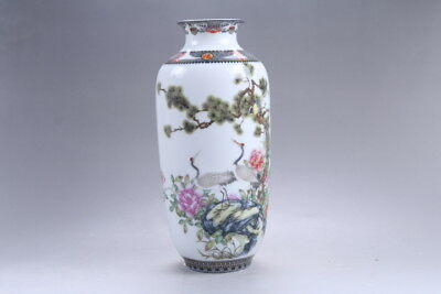 Exquisite chinese painting Red-crowned crane porcelain Vase qianlong mark HP373
