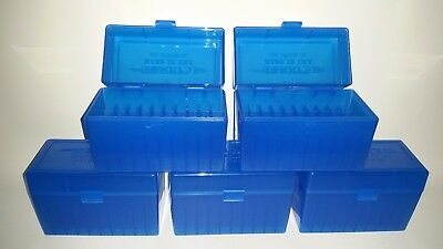 BERRY'S PLASTIC AMMO BOXES (5) BLUE 50 Round 270 / 30-06 / More- FREE SHIPPING