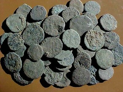 50 Uncleaned Late  Roman Bronze Coins