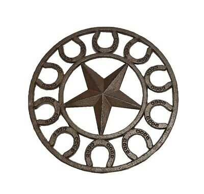 Rustic Lone Star & Horseshoes Trivet - Cast Iron - 9.75 inch Round